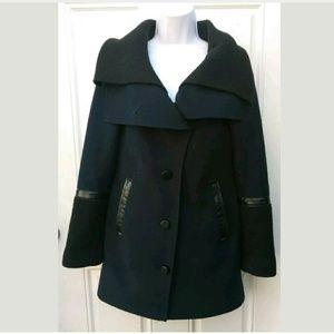 Mackage Wool Shawl Front Button Coat Size Navy Lea